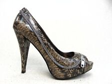 Aldo Womens Shoes Snake Print peep toe Stiletto Heels Black Brown Zip Decor S 39