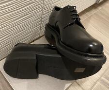 Giorgio Armani Mens shoes /  New Black Leather .Shoes Size 7.5 USA ( 40.5 Euro )