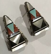 &onyx Inlay Earrings Post Type Native American Zuni Turquoise Mop
