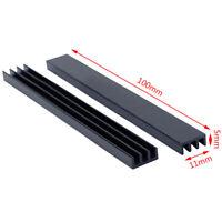 2Pcs 100 * 11 * 5mm Black Aluminum Chip Radiators Heatsink FE