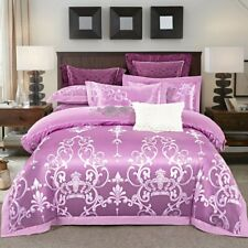 Luxury Silk Cotton Bedding Set Quilt Cover Bed Sheet Pillowcases Queen King NEW