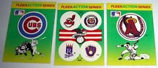 1990 FLEER ACTION SERIES MLB Baseball Team Logo Stickers - (3) Cards (Used)
