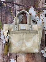 COACH 201 Signature Jaquard SCRIBBLE Tote Handbag Purse w/ Leather Logo Tag