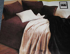 2 PCE Chocolate Mink Faux Fur SINGLE Coverlet / Bedspread + Pillowcase