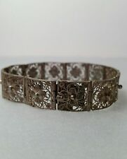 Antique Vintage 800 Silver Filigree Link Panel Bracelet