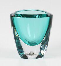 More details for vintage strombergshyttan small unusual teal coloured cased triform glass vase