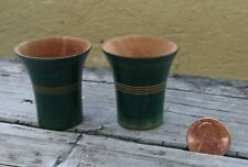"""VTG PAIR OF HAND TURNED WOODEN VASES CUPS 1 1/2"""" (4CM) GREEN PAINTED DOLLHOUSE"""