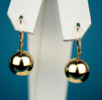 Real 14k Solid Yellow Gold Drop Dangle Polished Ball Lever Back Earrings 10mm