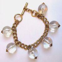 bracelet bijou vintage couleur or gourmette pampilles perles  transparentes 3358
