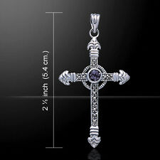 Celtic Cross Marcasite Amethyst .925 Sterling Silver Pendant by Peter Stone
