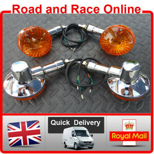4 x Chrome Plated Front & Rear Motorcycle Indicators Universal Fit Short Stem