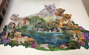 SunsOut Tigers At The Pool by Alixandra Mullins 1000 Pc Shaped Puzzle Pre-Owned