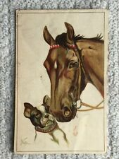 Vintage Postcard of a painting of a Dog and Horse  - Norfini
