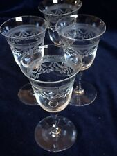 More details for set of 4 etched lovely antique vintage etched  drinking glasses,11.5cm tall