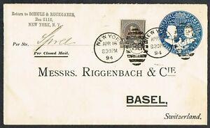 1894 New York-Basel 1c Printed Envelope + 4c via Bremen and 'Spree' Packet Boat