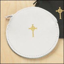 White Round Rosary Leather Case with Zipper NEW SKU KT017
