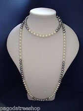 New Beautiful Faux Pearl & Silver Necklace & Matching Earrings
