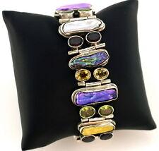 "Blister Multi Colored Pearl Gemstone Artisian Sterling Silver Bracelet 1"" Biwa"