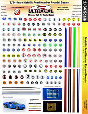 1/64 HO UltraCal Decals Metallic Pearl Number Roundels Fits AFX Aurora