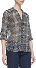 Diane von Furstenberg Black White Optic Plaid Harlow Silk L/S Top $275 NWT 4