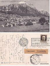 # CORTINA D'AMPEZZO - FALORIA- SORAPIS ED ANTELAO - 1937  annullo a targhetta