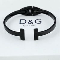 "NEW DG Gift Women's Unisex Black Stainless Steel 6.5"" Cuff Bangle Bracelet + Box"