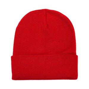 Unisex Plain Warm Knit Beanie Hat Cuff Skull Ski Cap