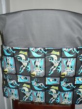 Handmade kids chair bag first name embroidered free Batman Print Grey Colour