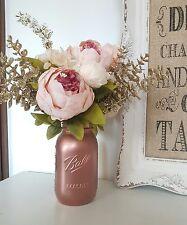 Painted Metallic Rose Gold Mason Jar 945ml - Perfect for Weddings