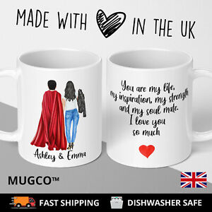 Valentines Mug Super Man Hero Him Boyfriend Husband Fiancee Gift Personalised