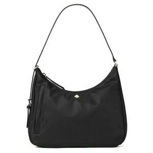 New Kate Spade New York Jae Medium Shoulder bag Nylon with Leather trim Black