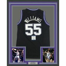 FRAMED Autographed/Signed JASON WILLIAMS 33x42 Sacramento Black Jersey BAS COA