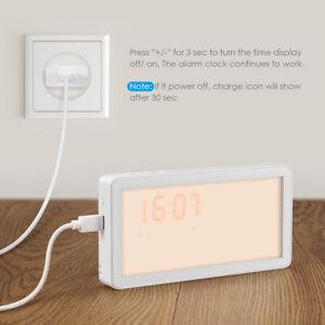 Natural Digital LED Wake-Up Night Light Snooze Bedside Lamp Sunrise Alarm Clock