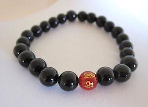 Gold Mantra Red AGATE and ONYX gemstone beaded stretchy elastic yoga bracelet