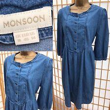Monsoon blue denim dress uk size 18 Shirt Tunic Style 734