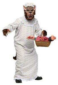 Big Bad Granny Wolf Red Riding Hood Adult Halloween Costume Grandma Nightgown
