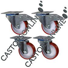 """Heavy Duty Polyurethane Nylon Castors, 4-Pack, 1000KG Load Capacity (200MM/8"""")"""