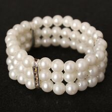 Women's Classic Ivory Stretch Pearl Bead Bracelet - 3 Row - Corsage Cuff Wedding