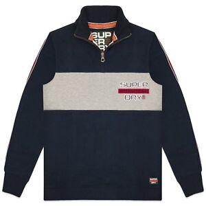 Superdry Sweatshirt - Superdry Applique Colour Block Henley Sweat - Navy