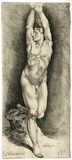 Antique Master Print-MALE NUDE FIGURE-Bisschop-c.1668