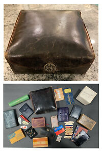 RARE ANTIQUE LEATHER SHAKER SEWING BOX WITH AMAZING EXTRAS! MUST L@@K!