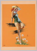 Vintage 1940s She's A Daisy Earl Moran Pin-Up Print Farm Country Girl Redhead