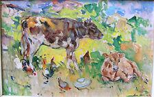 EPAMINONDAS THOMOPOULOS-1st Greek Impressionist-Signed Oil- Cows & Landscape