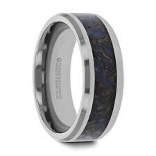 Beveled Edged Ring New - 8mm Blue Dinosaur Bone Inlaid Tungsten Carbide Band