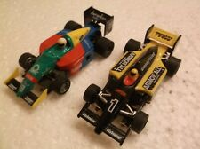 tyco afx slot car f -1 indy # 1 armor all, # 19 benellon 440x2, super g,chassis