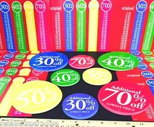 RARE SET OF 85 pcs BRIGHT SALE TAG SIGNS & PRICE LEGENDS / RETAIL STORE SUPPLIES