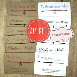 DIY KIT 20x Wholesale * Bulk *Make A Wish Bracelet * Friendship Gift CHRISTMAS