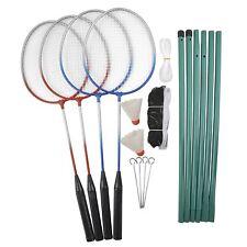 Badminton Komplett Set 4Spieler Netz Stangen Bälle Schläger Federball Spiel