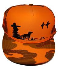 Dog Hunter Duck Hunting Orange Camo Camouflage Snapback Mesh Trucker Hat Cap