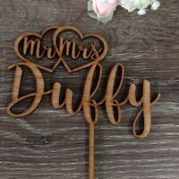 Personalised Wedding Cake Topper Mr&Mrs Surname Custom Made Decoration Wood